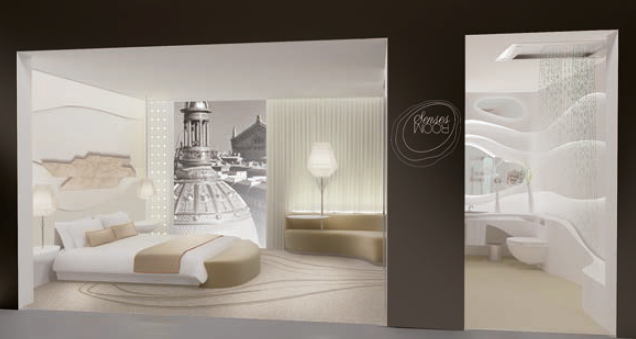 Projet Senses Room avec literie Simmons, assises Collinet, Salle de bain en Corian et robinetteries Dornbracht