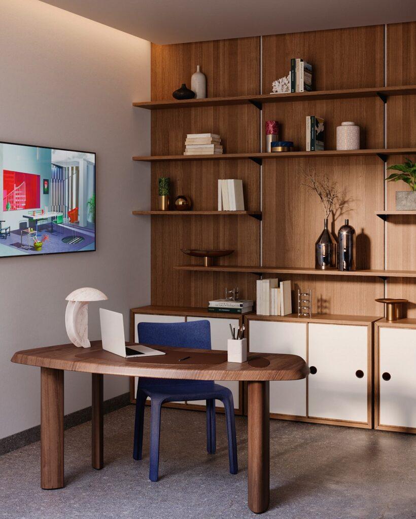 Petit bureau en forme libre (design Charlotte Perriand)